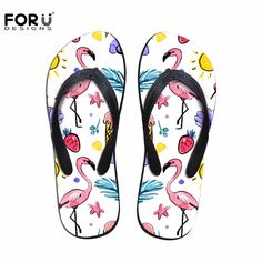 FORUDESIGNS 2017 New Design Women Summer Slip-on Flip Flops 3D Fashion Tropical Flamingos Prints Beach Water Slippers Woman   #Affiliate