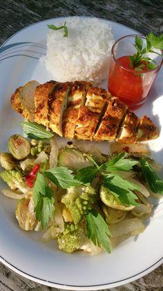 Les 3 choux et filet de poulet curry Filets, Saveur, 3 D, Tacos, Mexican, Chicken, Ethnic Recipes, Sprouts, Recipes
