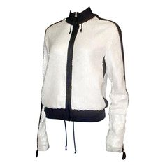 1stdibs.com | Chanel White Sequin Zip-Up Jacket With Navy Blue Terry Cloth Piping