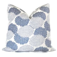 Quadrille China Seas Suncloth Blue and White New Chrysanemum Outdoor Pillow Cover Square or Lumbar pillow, Toss Accent Pillow, Throw Pillow