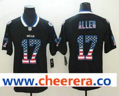 Men s Buffalo Bills  17 Josh Allen 2018 USA Flag Fashion Black Color Rush  Stitched Nike Limited Jersey ac682192b