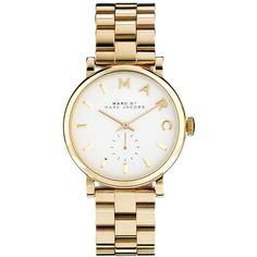 Marc By Marc Jacobs Baker Gold Watch MBM3243 (£219) ❤ liked on Polyvore featuring jewelry, watches, accessories, bracelets, gold, yellow gold watches, bracelet jewelry, marc by marc jacobs, gold watches and gold jewellery