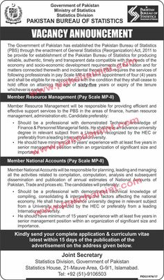 PAKISTAN GOVERNMENT BUREAU OF STATISTICS VACANCY ANNOUNCEMENT The Government of Pakistan has established the Pakistan Bureau of Statistics (PBS) through the enactment of General Statistics (Reorganization) Act, 2011 to be provide for establishment of the Pakistan Bureau of Statistics for producing reliable, authentic, timely and transparent data compatible with the needs of the economy and soci   #Advertisement #Announcement #Application #Bureau #DAE #DEO #DEPARTMENT #Dir
