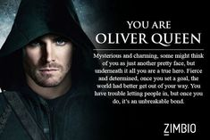 'Arrow' Character Are You? From the Which Arrow Character Are You? I got Oliver. My name is Oliver Queen. the Which Arrow Character Are You? I got Oliver. My name is Oliver Queen. Arrow Quote, Arrow Cw, Team Arrow, Oliver Queen Arrow, Dc Comics, Oliver And Felicity, Felicity Smoak, Stephen Amell Arrow, Thea Queen