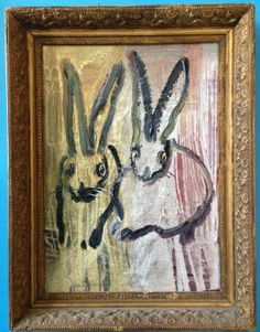 Hunt Slonem - Two bunnies on gold and silver | From a unique collection of paintings at http://www.1stdibs.com/art/paintings/