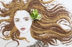 Intricate portrait out of Mother Nature using twigs, flowers and sand Art Floral, Art Et Nature, Nature Crafts, Frida Art, Leaf Crafts, Pressed Flower Art, Ouvrages D'art, Beautiful Artwork, Flower Prints