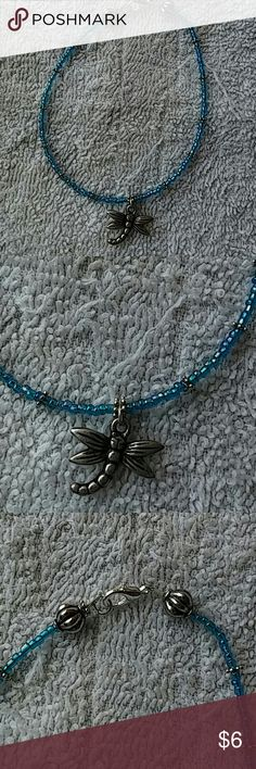 """9.75"""" Hand Beaded Anklet 9.75"""" Hand Beaded Anklet, turquoise seed beads, beading wire, tibetan silver dragonfly charm, tibetan silver spacer beads & silver plated lobster clasp. Jewelry Bracelets"""