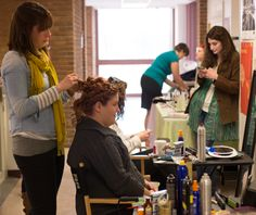 You Say I Do We Say Up-Do working hard!! Mary and Angela did all of the hair for the fashion show!!