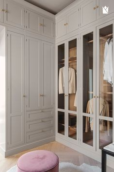 Dressing room in the model Dalby in the colour Rock, handpainted on ash. Knobs called Korn in brass. Wardrobe Room, Wardrobe Design Bedroom, Closet Bedroom, Bedroom Decor, Attic Bedroom Storage, Closet Space, Dressing Room Decor, Dressing Room Closet, Dressing Room Design