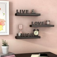 Buy and Save Howton 3 Piece Live, Love, Laugh Floating Shelf Set By Wrought Studio Corner Wall Shelves, Cube Shelves, Display Shelves, Shelf Wall, Hanging Shelves, Shelving, Industrial Wall Shelves, Wood Floating Shelves, Glass Shelves