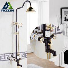 Newly Single Lever Rain Shower Column Set Wall Mount 4-function Mixer Valve /Handshower /tub spout bidet sprayer Shower Faucet #Affiliate
