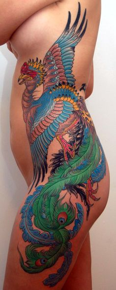 Bird tattoo by Peter Lagergren from Sweden #peacock #phoenix #tattoo