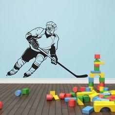 Hockey Wall Decal Art Room Decor Ice Hockey by VinylWallArtworks