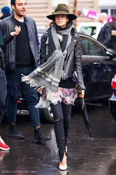 Leandra Medine, #manrepeller, Street:Style:Seconds, biker jacket & fedora hat outfit, Paris Fashion Week AW 2014