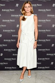 Olivia Palermo wearing Jimmy Choo Genoa Flats and Tibi Open-Back Faille Midi Dress