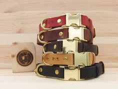Black Leather Dog Collar with Brass Hardware and Quick Release Buckle, Optional FREE ID Tag, Handmade Personalized Dog Collar Personalized Dog Collars, Handmade Dog Collars, Natural Leather, Tan Leather, Free Id, Artisan & Artist, Leather Dog Collars, Medium Dogs, Id Tag
