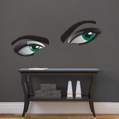 Mystery Eyes Mural Decal - Adult Wall Decal Murals - Primedecals Modern Wall Decals, Wall Mural Decals, Adhesive Vinyl, Decorating Your Home, Mystery, Eyes, Interior, Color, Design