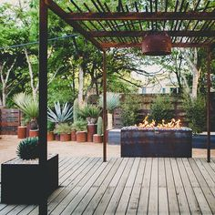 """LUSH GreenScape Design installation. San Antonio TX. Fabricated steel pergola planter boxes fire pit and """"living fence."""" Smooth cedar deck. Cold hardy architectural and evergreen plants. It's functional outdoor space it's sustainable it's LUSH. #landscapedesign #landscapearchitecture #sustainability #texas #horticulture #archictecture #droughttolerant #design #lushgreenscapedesign #sanantonio #texaslandscaping #centraltexas #xeriscape #cactus #yucca #agave #succulents #nativeplants…"""