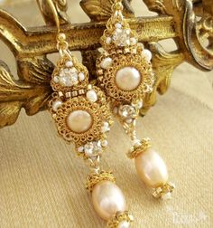 Sabina Earrings | Gold Grecian-inspired Drop Earrings- Champagne Pearls, Crystal