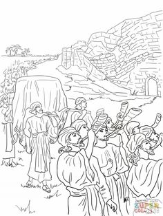 Joshua And The Fall Of Jericho Coloring Online Super
