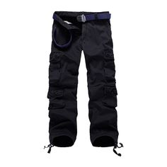 YUNY Mens Multi-Pockets Cotton Straight-Fit Plus Size Tactical Pants Black 3XL