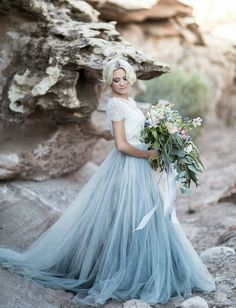 Blue tulle wedding gown!