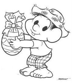 desenho Chico Bento com Ovo de Páscoa, colorir Chico Bento com Ovo de Páscoa