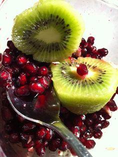 kiwi with pomegranate seeds