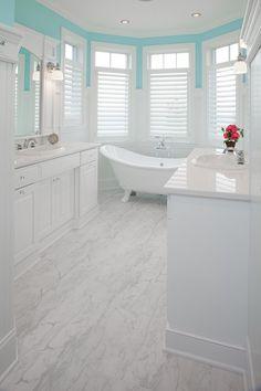 White Bathroom Design Ideas, Pictures, Remodel, and Decor - page 11 White Bathroom Decor, Small Bathroom, Master Bathroom, Bathroom Ideas, Bathroom Vinyl, White Bathrooms, Diy Design, Design Ideas, White Vinyl Flooring