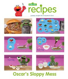 Oscar the Grouch has a sloppy but tasty and cool recipe for kids and parents to use! Download this FREE recipe here: http://www.sesamestreet.org/parents/topicsandactivities/recipes/sloppy_mess #recipe #food