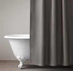 Extra long (72×84) Diamond Matelassé  shower curtain from Restoration Hardware. Comes in tons of colors including white, which is of course my favorite