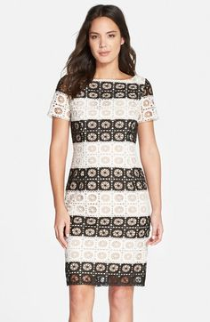 Nue by Shani Stripe Lace Sheath Dress available at #Nordstrom