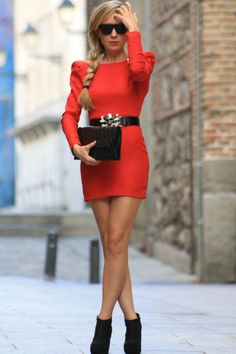 orange dress with shoulder pads