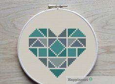 geometric modern cross stitch pattern heart, valentine heart, small, tangram style, PDF pattern ** instant download** by Happinesst on Etsy https://www.etsy.com/listing/209418031/geometric-modern-cross-stitch-pattern
