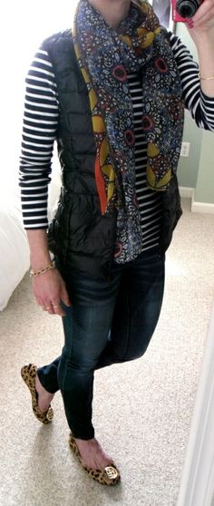H&M navy striped shirt and black down puffer vest, scarf (gift), distressed skinny jeans, leopard flats, J. Crew pave link bracelet
