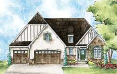 English-Country Style House Plans - 2018 Square Foot Home, 1 Story, 2 Bedroom and 2 3 Bath, 3 Garage Stalls by Monster House Plans - Plan 10-1614