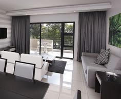 This the living area of a two bedroom apartment. Living Area, Living Room, Two Bedroom Apartments, Outdoor Furniture Sets, Outdoor Decor, Home Reno, Curtains, Table, Bathrooms
