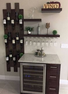 Home Bar with Wine Rack . Home Bar with Wine Rack . Repurposed Armoire Into Bar with Shiplap Back 10 Wine Decor, Diy Home Bar, Wine Bar, Bar Decor, Coffee Bar, Wine Rack Design, Modular Wine Racks, Diy Wine, Hanging Wine Rack