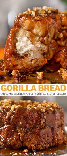Gorilla Bread is a stuffed monkey bread with cream cheese and walnuts. | #christmas #holidays #dessert #monkeybread #breakfast #cinnamon #dinnerthendessert
