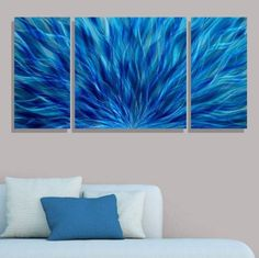 Blue Modern Abstract Metal Wall Art - Hand Painted Contemporary Wall Sculpture - Cascading Waters III by Jon Allen >>> Learn more by visiting the image link. (This is an affiliate link and I receive a commission for the sales)