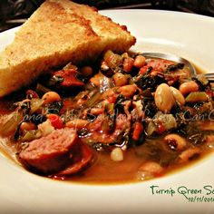 I think tunips greens is a very southern veggie and I for one love em! This soup will take the chill off on a cold day and is perfect for bringing in the New Year. Can't start the year without greens and blackeyed peas! Hope you enjoy! Turnip Green Soup, Turnip Greens, Collard Greens, Crockpot Recipes, Soup Recipes, Cooking Recipes, Turnip Recipes, Healthy Recipes
