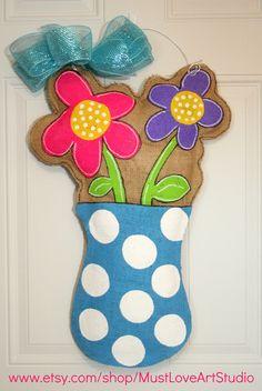 Flower Pot  Burlap Door Hanger Decoration HUGE 2 ft  - Spring Summer Polka Dots. $35.00, via Etsy.