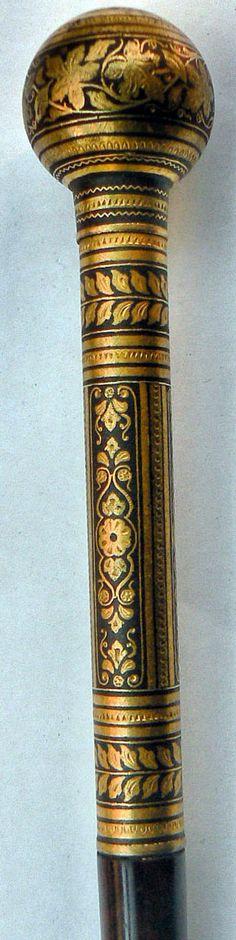 Pommeau de Canne - Damascène - 1900-10