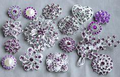 10 Light Amethyst Lavender Purple Assorted Crystal Brooch Rhinestone Brooch Set Crystal Wedding Cake Decoration Brooch Bouquet DIY Kit BT997