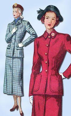 1940s Vintage Simplicity Sewing Pattern 2574 Uncut Misses Slender Suit Sz 14 32B…