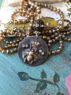 Queen Bee artisan pendant handknot long necklace versatile BoHo style accessory bee crown rhinestone by MarleeLovesRoxy Bee Jewelry, Queen Bees, Bohemian Jewelry, Boho Fashion, My Etsy Shop, Things To Think About, Artisan, Bling, Pendant Necklace