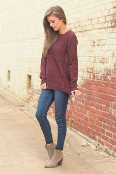 """Warm Opinions Sweater, Burgundy"" You have clearly already formed an opinion about this sweater. You love it! Which is why we have restocked it! The color, fit, everything is just as perfect as you remember it #newarrivals #shopthemint"