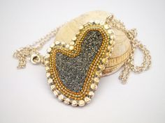 Silver heart pendant - sterling silver necklace - smokey gray heart - silver chain - asymmetric