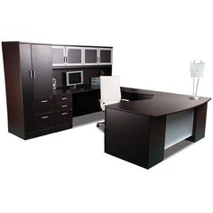"""Jazz up your office with the Zira Complete """"U"""" Shaped Desk Dark Expresso Right by Global Total Office. You'll love the styles & prices from our Office Desk selections. Office furniture for less! Home Office Computer Desk, Office Workspace, Office Table, Home Office Furniture, Arizona, Colorado, Texas, Counter Design, Business Design"""