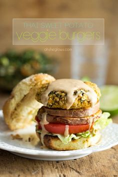 Thai Sweet Potato Veggie Burgers with Spicy Peanut Sauce - vegan and gluten-free! soy and nut-free options as well.